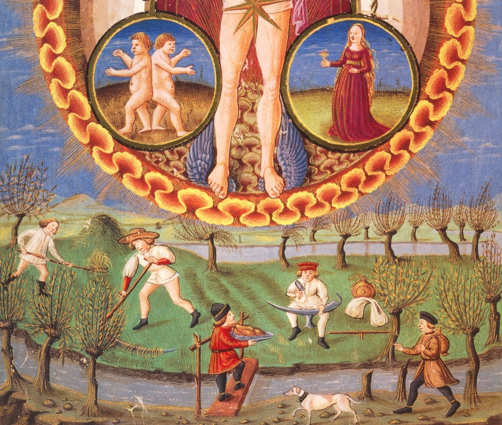 The Planet Mercury and work in the field, detail from a miniature from De Sphaera by Leonardo Dati, Latin Manuscript folio 209 verso 10, 1470, Italy. : Stock Photo