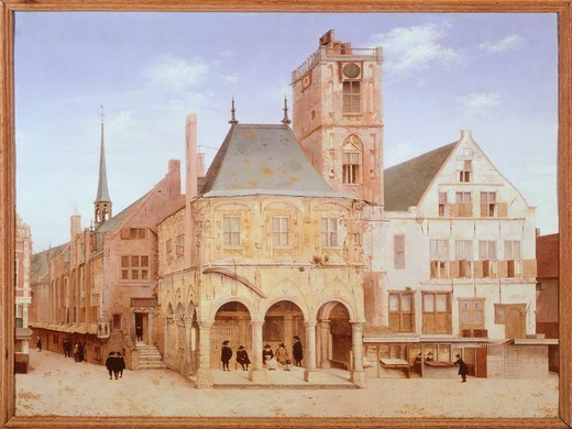 Stock Photo: 1788-34315 The old city hall in Amsterdam by Pieter Saenredam, Netherlands 17th century. Oil on board.