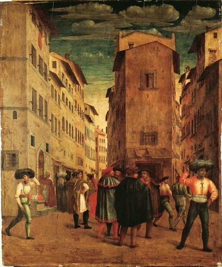 Francesco Ubertini Verdi, known as Bachiacca (1494-1557). A street in Florence. : Stock Photo