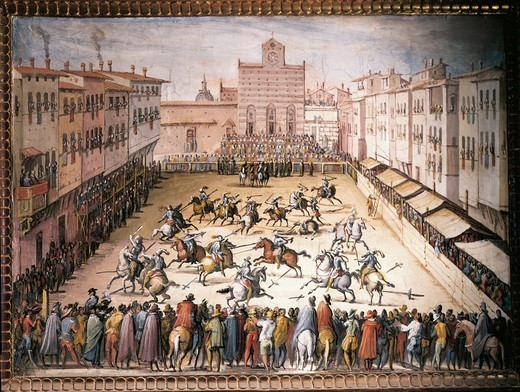 Italy, 16th century. Jousts in Santa Croce Square in Florence. : Stock Photo