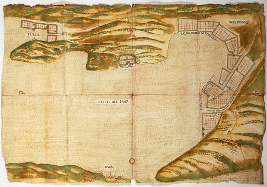 Cartography, Italy, 16th century. Saltworks in the Gulf of Trieste, engraving. : Stock Photo
