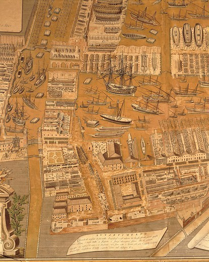 Stock Photo: 1788-34438 Cartography, Italy, 18th century. Perspective map of Venice dockyard by Gian Maria Maffioletti, 1798, engraving. Detail.