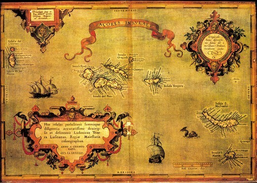 Stock Photo: 1788-34531 Cartography, 16th century. Map of the Azores by Abraham Ortelius (1528-1598), from Theatrum Orbis Terrarum, 1570.