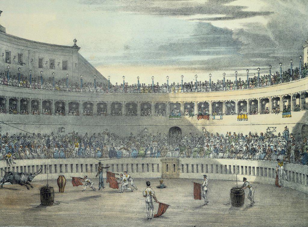 Stock Photo: 1788-34560 Bullfight in Rome, by Jean-Baptiste Thomas (1791-1834), Italy 19th Century.