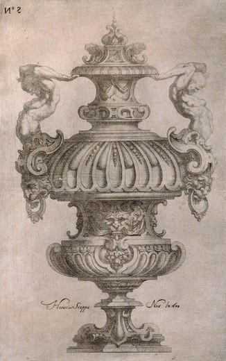Amphora, by Horace Scoppa, etching. : Stock Photo