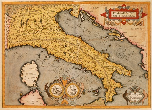 Stock Photo: 1788-34663 Cartography, Italy, 16th century. Map of Italy by Abraham Ortelius (1528-1598), from Theatrum Orbis Terrarum, 1570.
