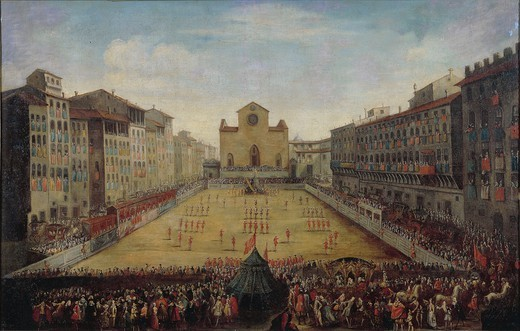 Stock Photo: 1788-34698 Italy, 18th century. Florence, Piazza Santa Croce with a Florentine football game or costume football game in 1739. Painting.