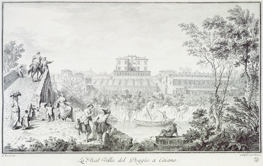 Stock Photo: 1788-34748 Villa Medici at Poggio in Caiano, by Giuseppe Zocchi (1711-1767) from View of the Villas and Surrounding Areas in Tuscany, Italy 18th Century. Engraving.