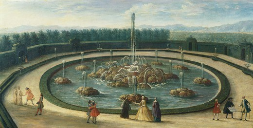 The Enceladus Basin (or The Fountain of Enceladus) at Versailles, France 18th Century. : Stock Photo