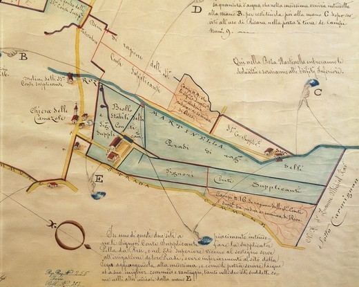 Cartography, Italy, 17th century. Map of Villa Contarini at Piazzola sul Brenta, Padua province. Study on irrigation and cultivation in the Villa property. : Stock Photo