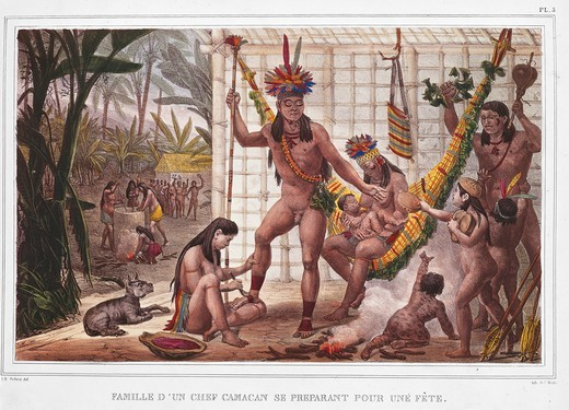 Stock Photo: 1788-34874 History of Exploration, Brazil, 19th century. A Camacan chief's family prepares a feast. From Historic and picturesque journey to Brazil of Jean Baptiste Debret, 1834.