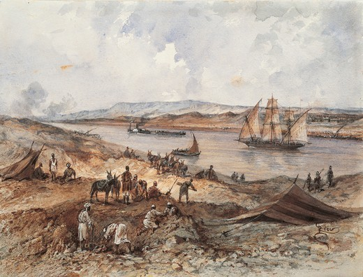 Stock Photo: 1788-34882 Egypt, 19th century. Empress of France Eugenie's journey on the occasion of the opening of the Suez Canal (1869). Watercolour by Edouard Riou for the album created to record the event.