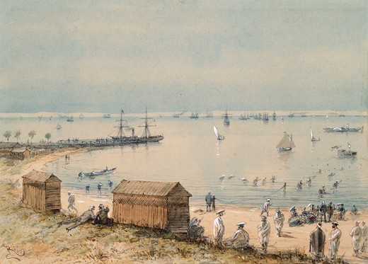 Extract from  the album souvenir of the trip of Empress Eugenie for the inauguration of the Suez Canal, 1869, by Edouar Riou, Egypt 19th Century. Watercolour. : Stock Photo
