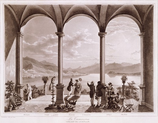 Stock Photo: 1788-35033 View of Tremezzina (the coastline of the western branch of Lake Como, stretching from Colonno to Cadenabbia) from the atrium of Villa Balbianello, by Johann Jakob Falkeisen (1804-1883), Italy 19th Century.
