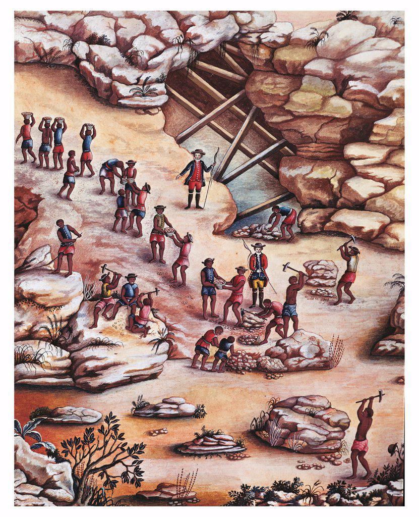 Stock Photo: 1788-35064 Brazil, 18th century. Diamond mine. Watercolour by Carlos Juliao 1775.