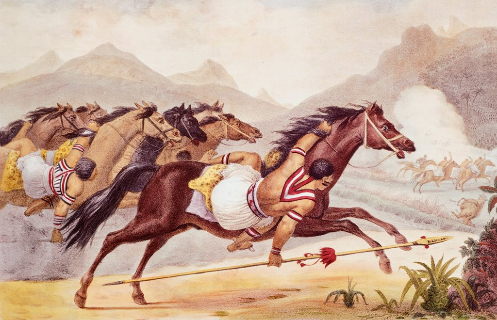 Stock Photo: 1788-35066 Guaycuru Indians on horseback, 1834, by J.B. Debret, form A Picturesque and Historic Voyage to Brazil, Brazil 19th Century.
