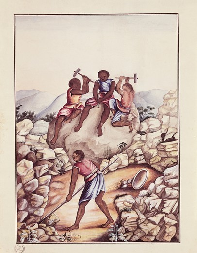Stock Photo: 1788-35073 Brazil, 18th century. Serro Frio region (Minas Geiras State), slaves splitting stones to extract diamonds. Watercolour by Carlos Julian, 1775.