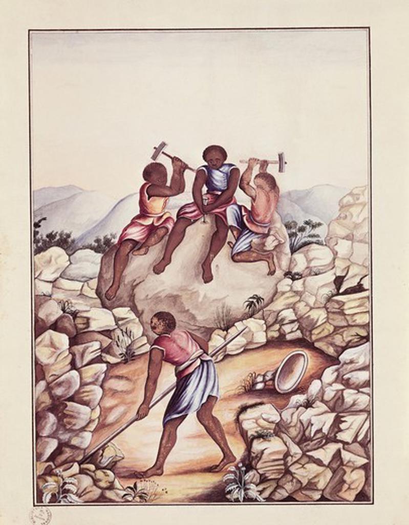 Brazil, 18th century. Serro Frio region (Minas Geiras State), slaves splitting stones to extract diamonds. Watercolour by Carlos Julian, 1775. : Stock Photo