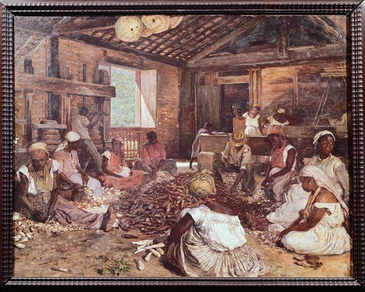 Cassava processing, 1892, by Modesto Brocos y Gomes, Brazil 19th Century. : Stock Photo