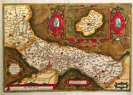 Stock Photo: 1788-35090 Cartography, Italy, 16th century. Map of the Agro Cremonese area, 1579.