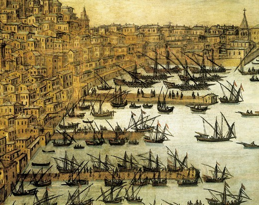 Italy, 17th century. Genoa Port, dredging the seabed. Details. : Stock Photo