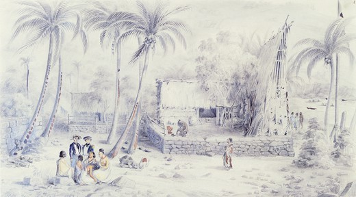Stock Photo: 1788-35198 Scene of everyday life in the Marquesas Islands, by Maximilien Radiguet, Polynesia 19th century. Drawing.