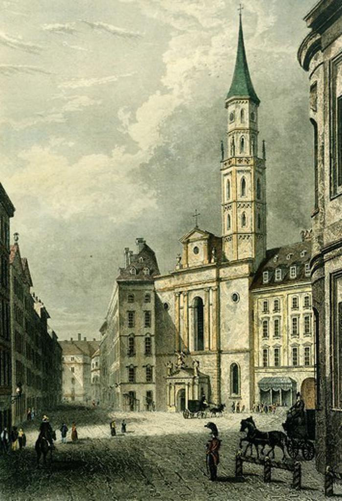 Stock Photo: 1788-35220 Vienna Coal Market and Michael Square in Vienna, Austria 19th Century.