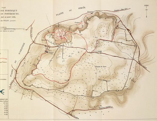 Stock Photo: 1788-35234 Cartography, 19th century. Map of Troy, the acropolis of the second city, drawing by Heinrich Schliemann, 1882.