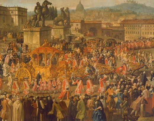 Stock Photo: 1788-35236 Royal procession in Rome, Italy 18th Century.