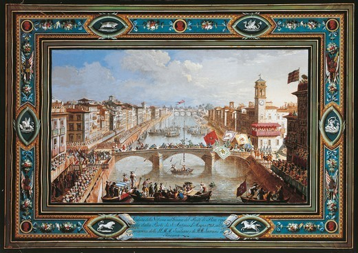 Stock Photo: 1788-35315 Giuseppe Terreni (1739-1811). Pisa, celebrations for the victory in the Gioco del Ponte (the Bridge Game), 1785. Folkloric festival taking place every year on the Ponte di Mezzo.