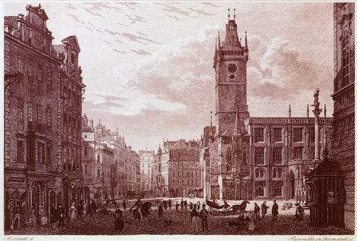 The Old Square in Prague with Bedrich Smetana's house, Czech Republic 19th Century. : Stock Photo