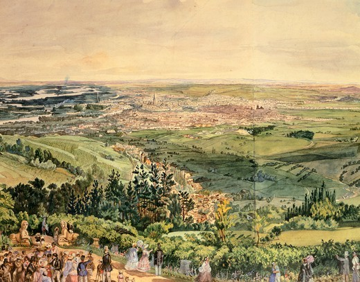 Stock Photo: 1788-35337 View of Vienna, ca. 1850, Austria 19th Century.  Watercolour.