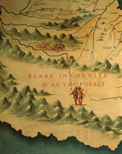 Italy - Veneto Region - Venice - Palazzo Ducale (Doge's Palace) - Hall of the Maps (Sala delle Mappe) - Florida people - Maps by Gian Battista Ramusio (1540) and Francesco Grisellini (1761). Detail. : Stock Photo