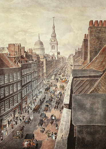 The United Kingdom, 19th century. View of Cheapside, a street in London in the early 1800s. Engraving : Stock Photo