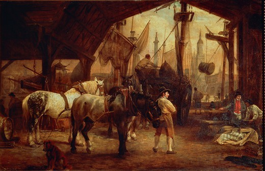 Stock Photo: 1788-35420 George Garrard (1760-1826). London, the docks on The River Thames.