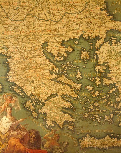 Peloponnese, by Giovanni Battista Ramusio (1485-1557), Hall of Maps, The Doge's Palace (Palazzo Ducale), Venezia, 16th Century. Canvas. : Stock Photo