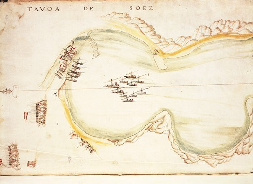 Cartography, 16th century. The Gulf of Suez, from the nautical charts by Joao de Castro, 1538. : Stock Photo