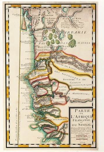 Stock Photo: 1788-35547 Cartography, 18th century. Map of Senegal, Mauritania and Gambia, 1729.