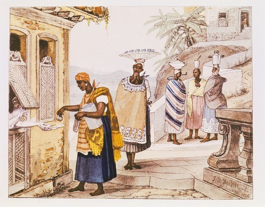 Stock Photo: 1788-35561 History of Exploration, Brazil, 19th century. Selling Coffee. From Journey to historic and picturesque Brazil of Jean Baptiste Debret, 1834.