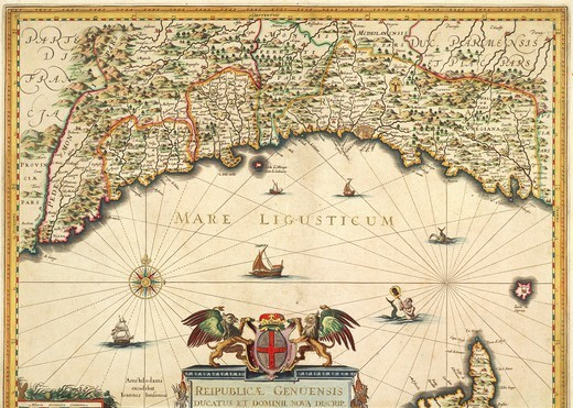 Stock Photo: 1788-35684 Cartography, Italy, 17th century. Genoa Republic. Map of Jan Baptist Vrients, 1647. Copper engraving.
