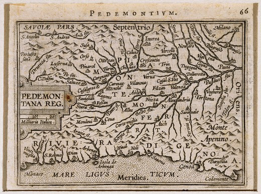 Stock Photo: 1788-35795 Cartography, Italy, 16th century. Piedmont and Western Liguria Regions. From Theatrum Orbis Terrarum by Abraham Ortelius (1528-1598), Antwerp, 1570.