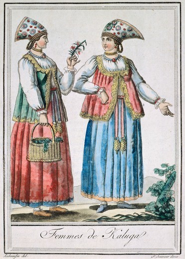 Kaluga women in traditional costumes, from the Encyclopedie des Voyages of Jacques G. de Saint-Sauveur, 1795, Russia 18th century. : Stock Photo