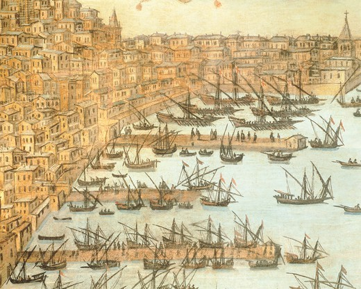 Stock Photo: 1788-35930 Excavation of the seabed between Spinola and Calvi Bridges in Genoa, by Christopher Grassi, 1597, Italy 16th Century. Tempera on canvas. Detail.