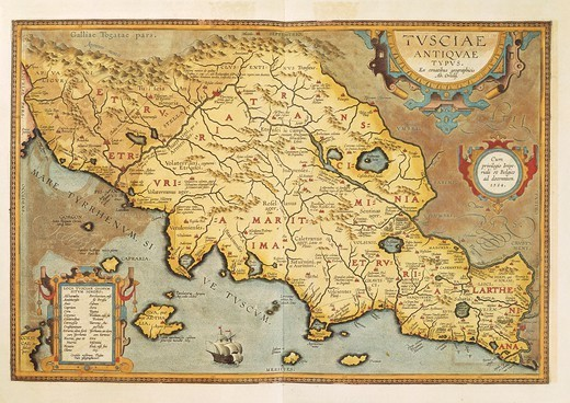 Stock Photo: 1788-35963 Cartography, Italy, 16th century. Map of Tuscia (Region of Lazio). From Theatrum Orbis Terrarum by Abraham Ortelius (1528-1598), 1570.