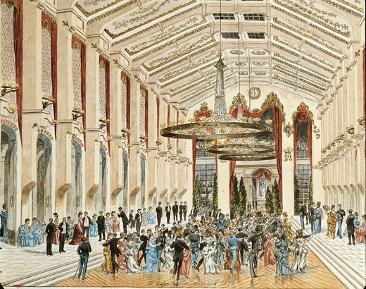 Stock Photo: 1788-35971 Austria, 19th century. Vienna. Interior of Sofienbad Saal Ballroom, 1870.