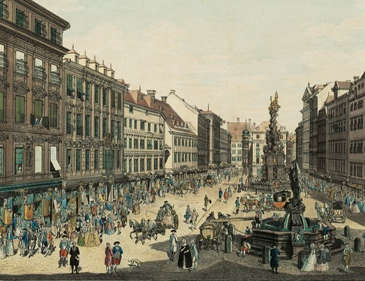 Stock Photo: 1788-35976 Austria, 18th century. Vienna, Graben street going towards Kholmarkt, with the Pestsaule (the plague column) in the centre. Engraving by Carl Schultz.