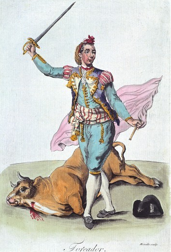 Stock Photo: 1788-35994 Toreador (bull-fighter), Spain 18th Century. Engraving.