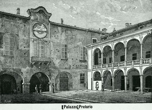 The Broletto in Novara, 1877, drawing by Riva, engraving by Columbus from Monographs of Novara, Italy, 19th Century. Engraving. : Stock Photo