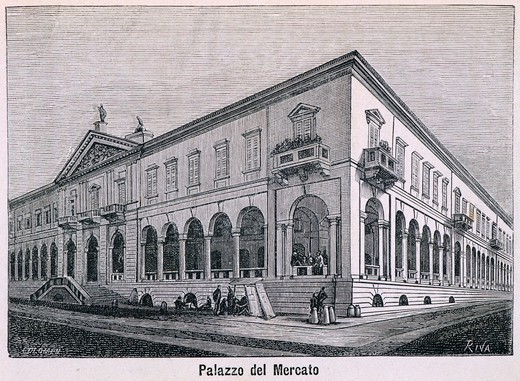 Stock Photo: 1788-36077 Market Building in Novara, 1877, drawing by Riva, engraving by Columbus from Monographs of Novara, Italy, 19th Century. Engraving.