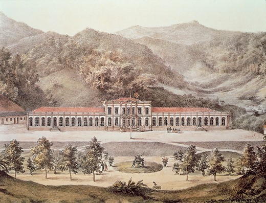 Stock Photo: 1788-36093 Brazil, 19th century. Petropolis. The Emperors Palace commissioned by Emperor Dom Pedro II, today the Imperial Museum. Engraving by Pieter Gottfried Bertichem.